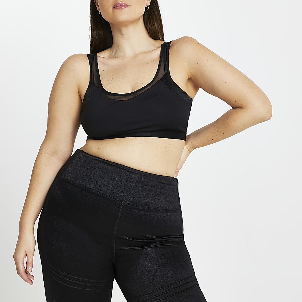 Plus black RI Active mesh crop top