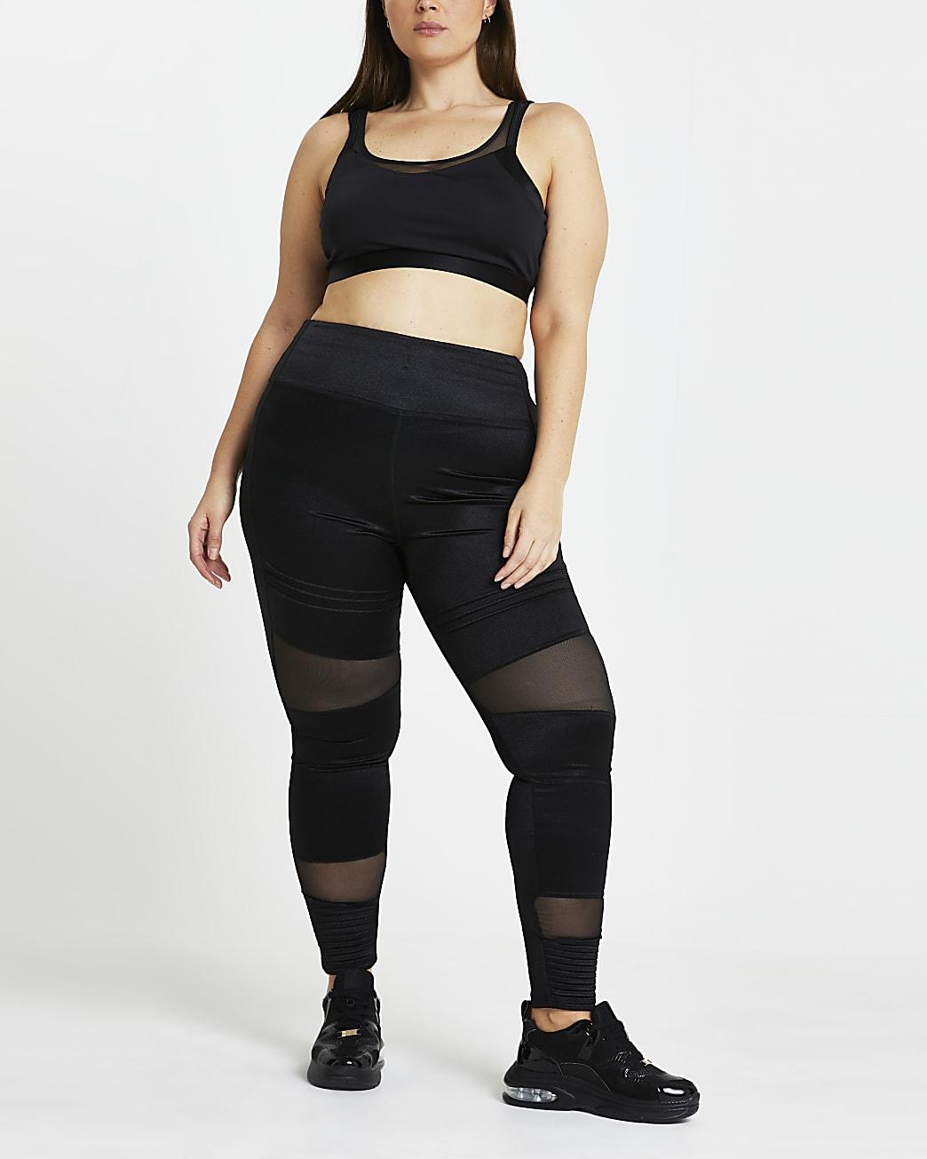 Plus black RI Active mesh panelled Leggings