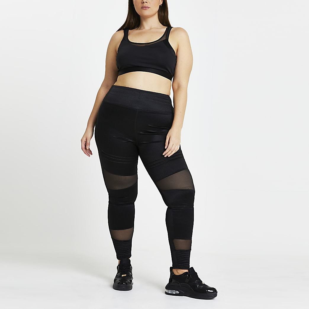 Plus black RI Active mesh panelled Leggings