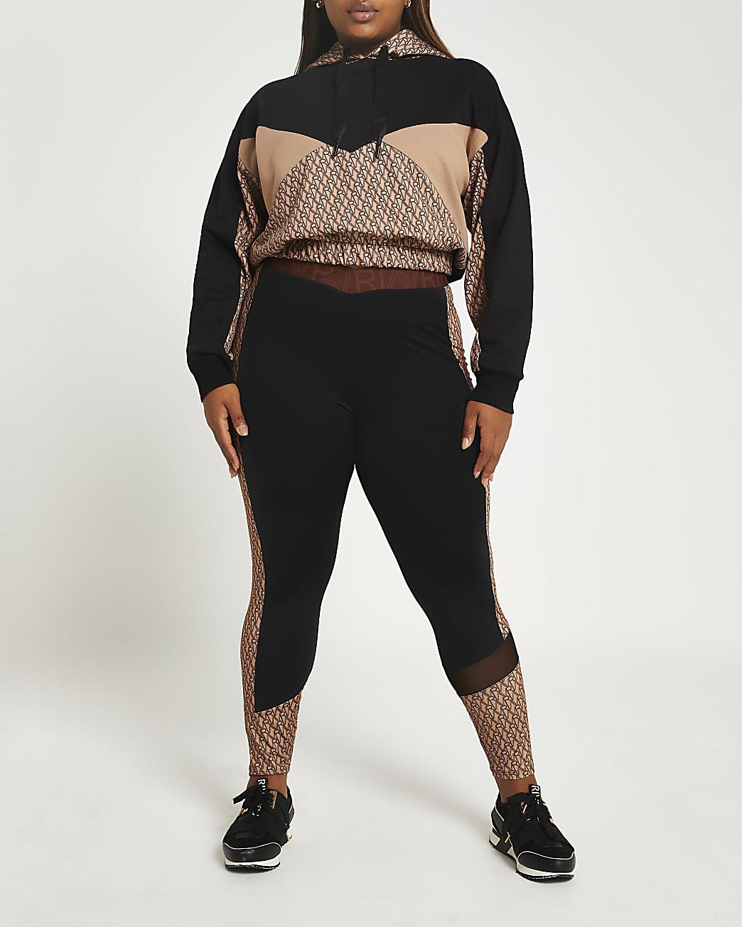 Plus black RI Active monogram print leggings