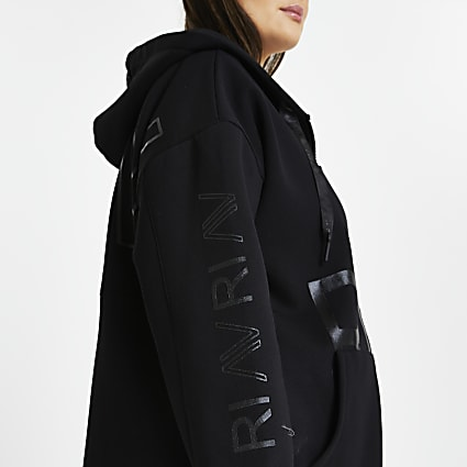 Plus black RI Active zip through hoodie