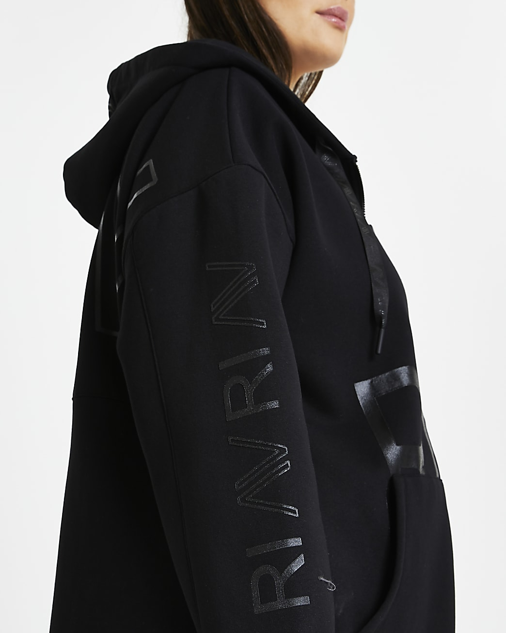Plus black RI Active zip up hoodie