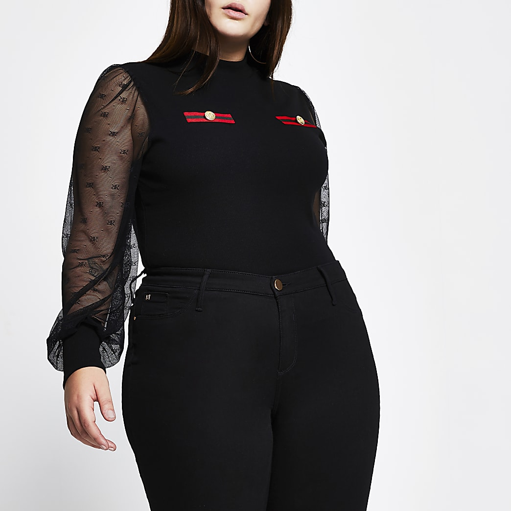 Plus black RI mesh puff sleeve top