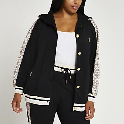 Plus black RI monogram hoodie
