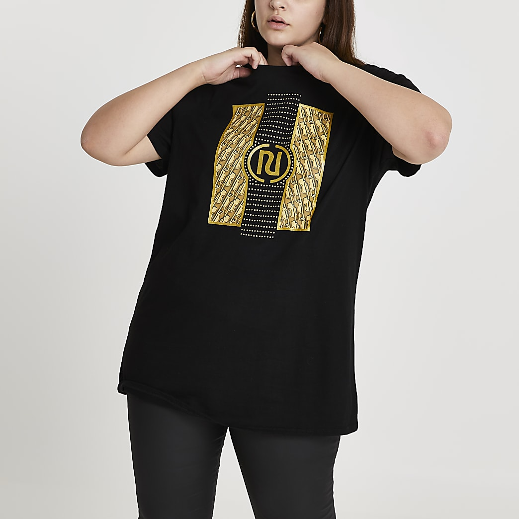 Plus black RI monogram oversized t-shirt