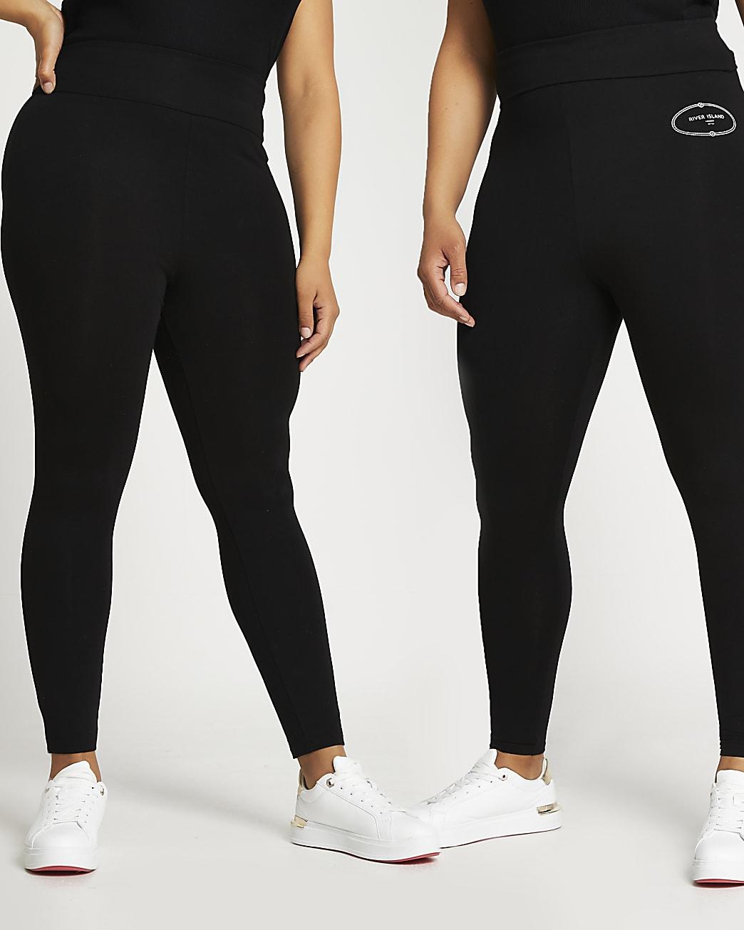Plus black RI multipack leggings