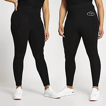 Plus black RI multipack leggings