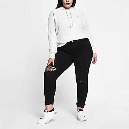 Plus black rip Amelie mid rise jeans