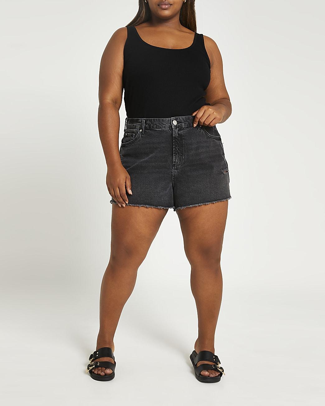 Plus black ripped mid rise denim shorts