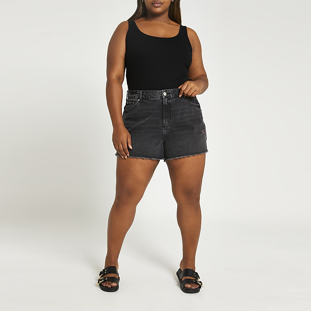 Plus black ripped mid rise denim shorts