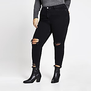 "Plus – Halbhohe Jeans ""Molly"" im Used-Look in Schwarz"