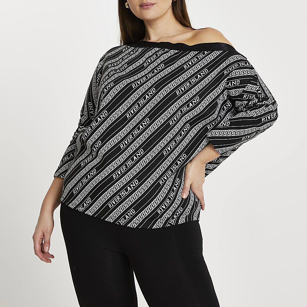 Plus black 'RIR' jacquard bardot top