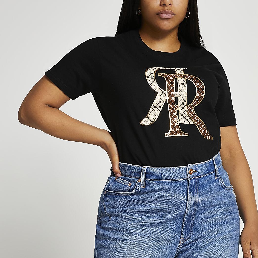 Plus Black 'RR' monogram t-shirt