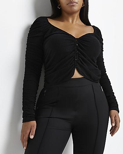 Plus black ruched cardigan