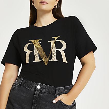 Plus black RVR monogram print t-shirt