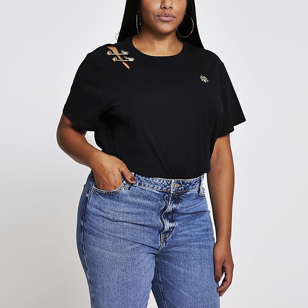 Plus black safety pin shoulder t-shirt