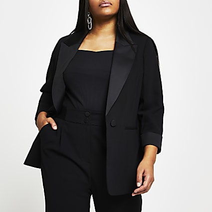 Plus black satin collar tux blazer