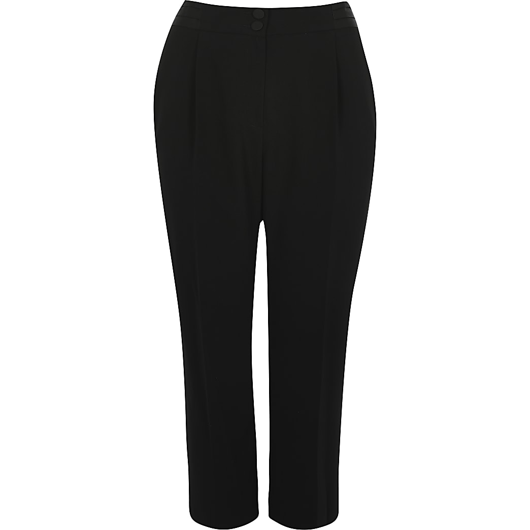 Plus black satin waist trousers