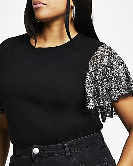 Plus black sequin angel sleeve t-shirt
