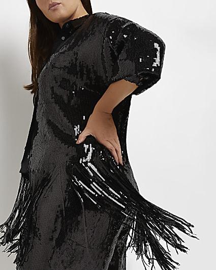 Plus black sequin tassel shirt