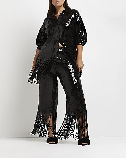 Plus black sequin tassel trousers