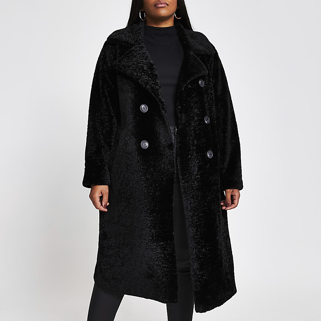 Plus black shearling double breasted coat