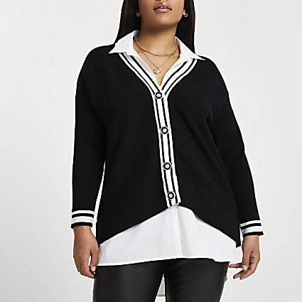 Plus black shirt hybrid cardigan