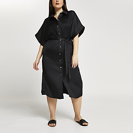 Plus black shirt midi dress