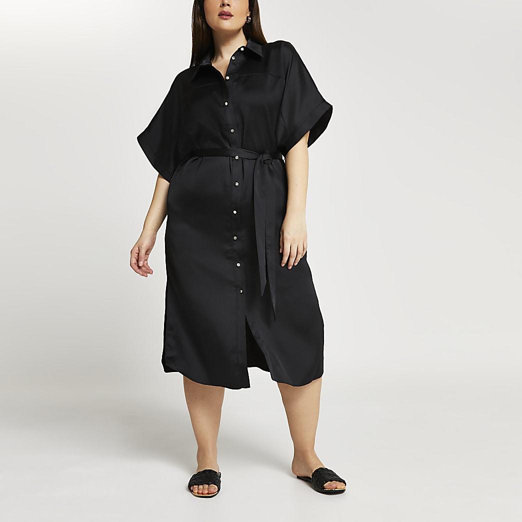 Plus black shirt midi dress