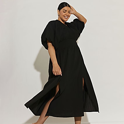 Plus black short puff sleeve maxi dress