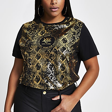 Plus black short sleeve animal print t-shirt