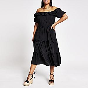 Plus– Robe bardot mi-longue à manches courtes noire