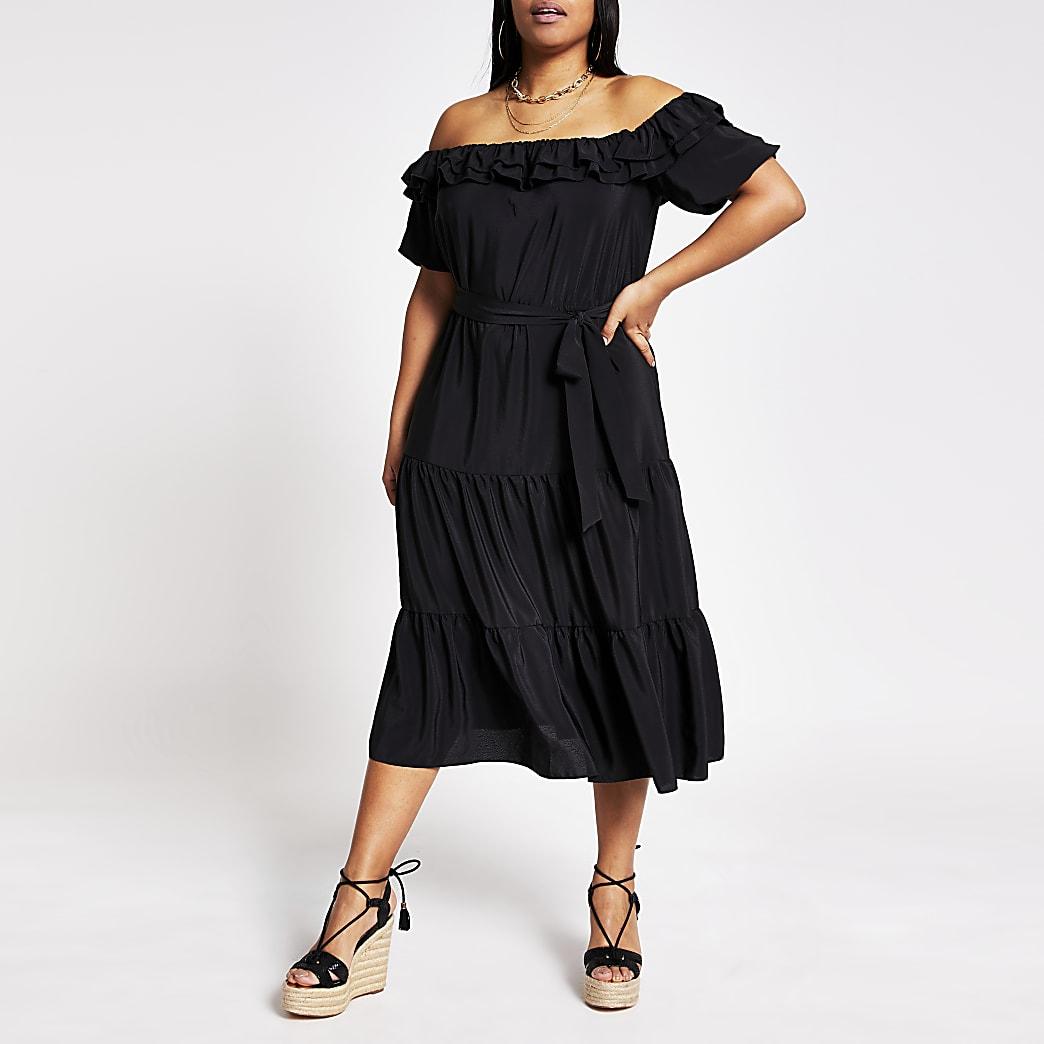 Plus black short sleeve bardot midi dress