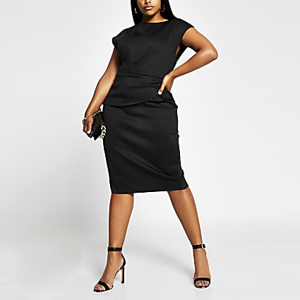 Plus black short sleeve bodycon midi dress