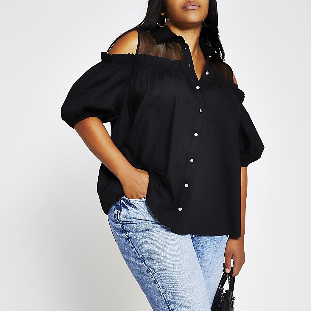 Plus black short sleeve cold shoulder shirt