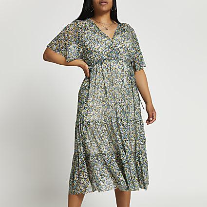 Plus black short sleeve mesh  midi dress