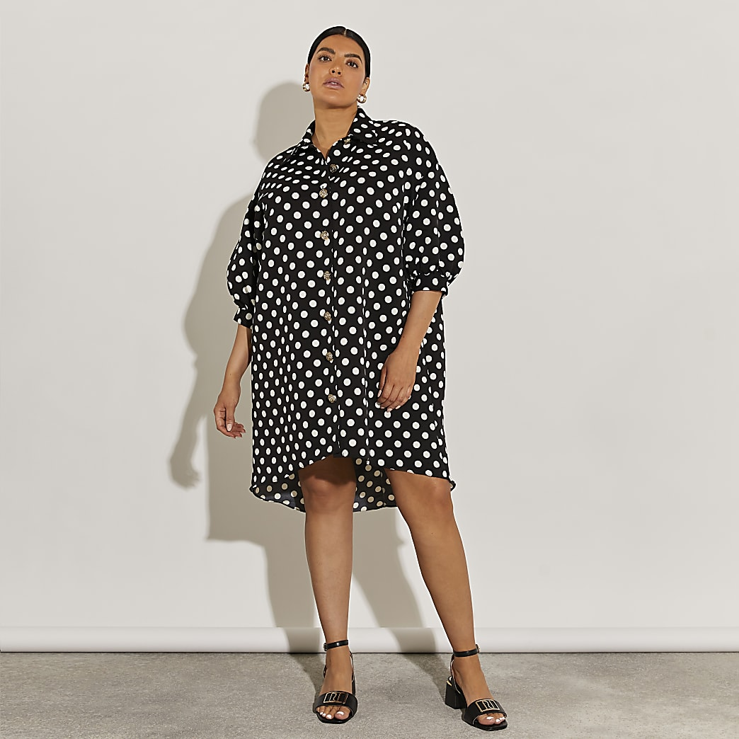 Plus black short sleeve oversized shirt dress