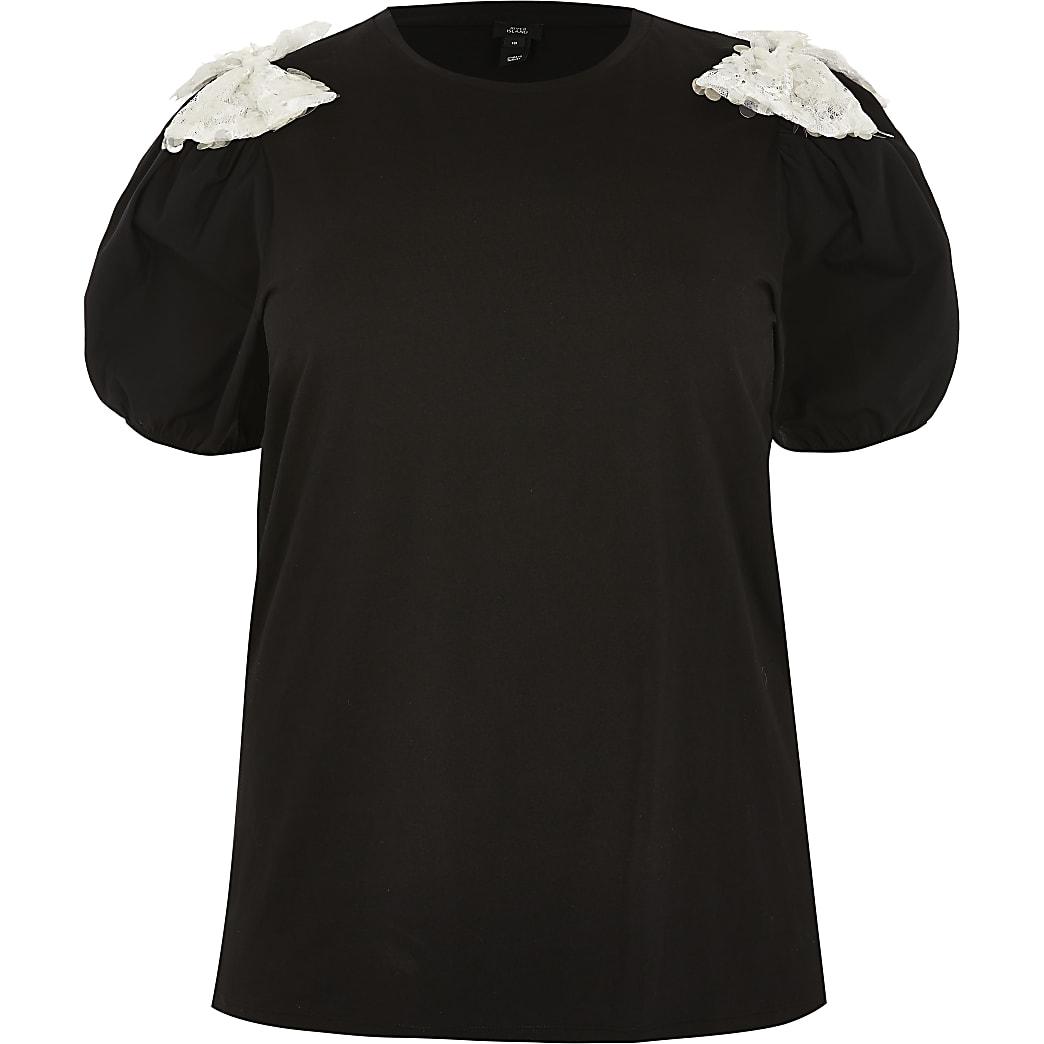 Plus black short sleeve sequin bow t-shirt