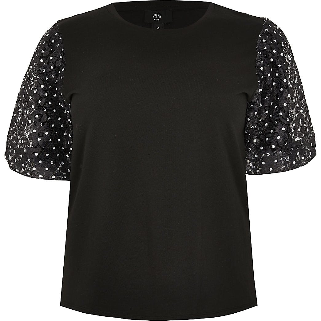 Plus black short sleeve spot lace t-shirt