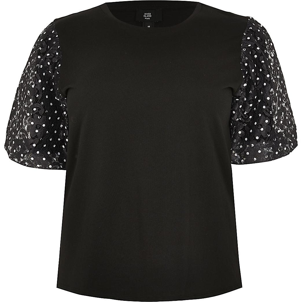 Plus black short sleeve spot lace t-shirt