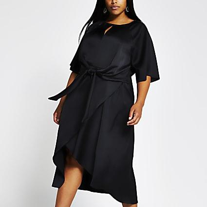 Plus black short sleeve tie side midi dress