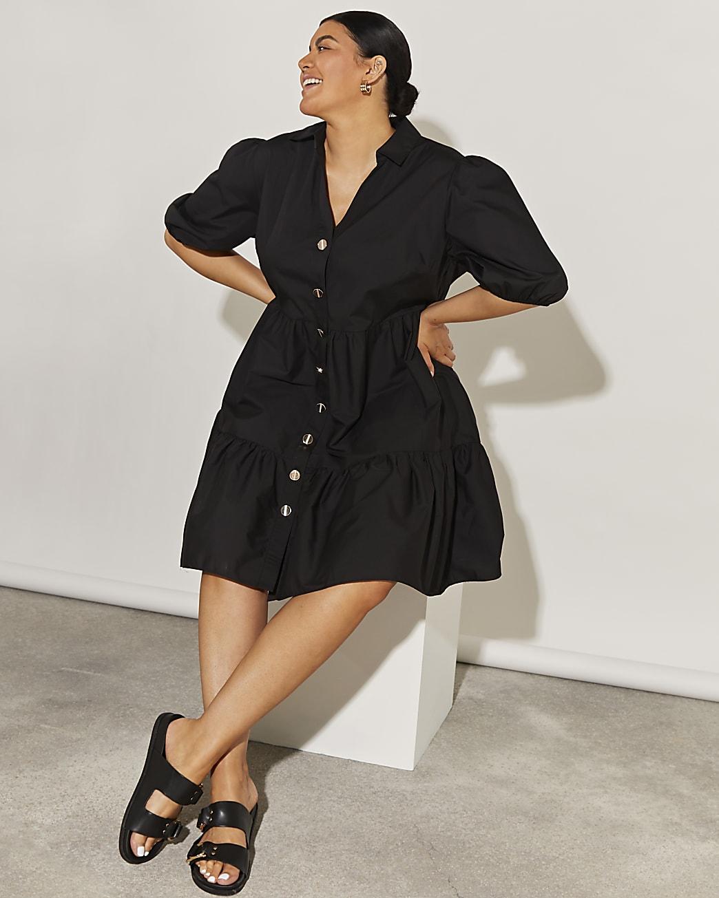 Plus black short sleeve tier shirt mini dress