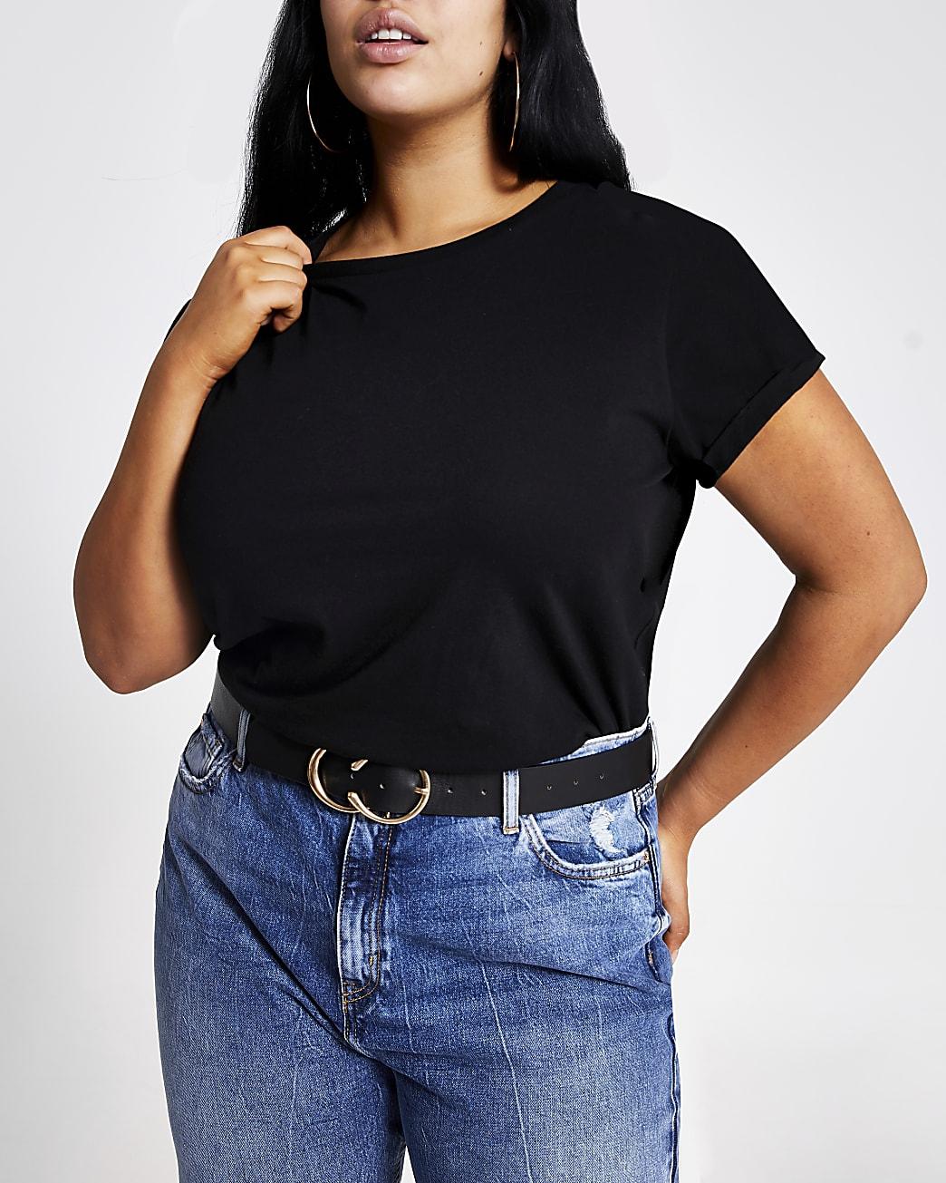 Plus black short turn-up sleeve T-shirt