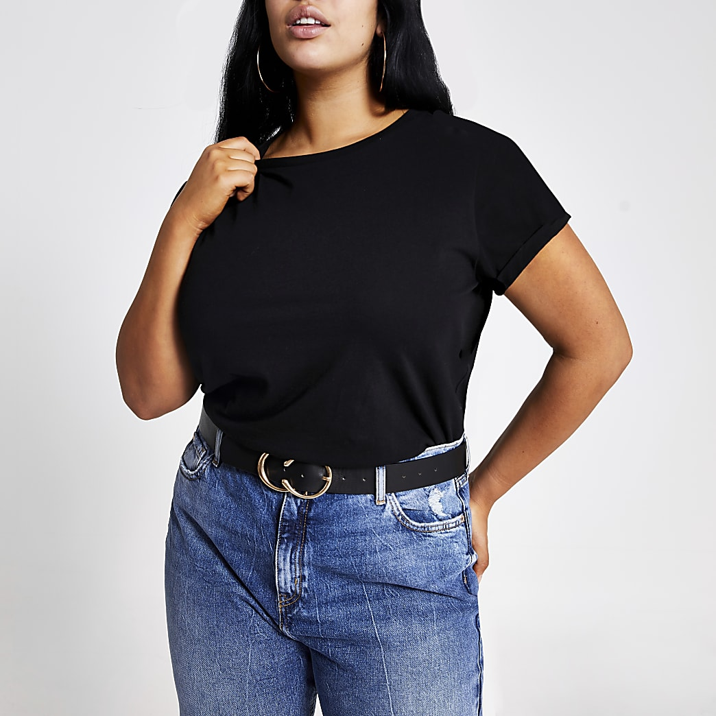 Plus black short turn-up sleeve T-shirt