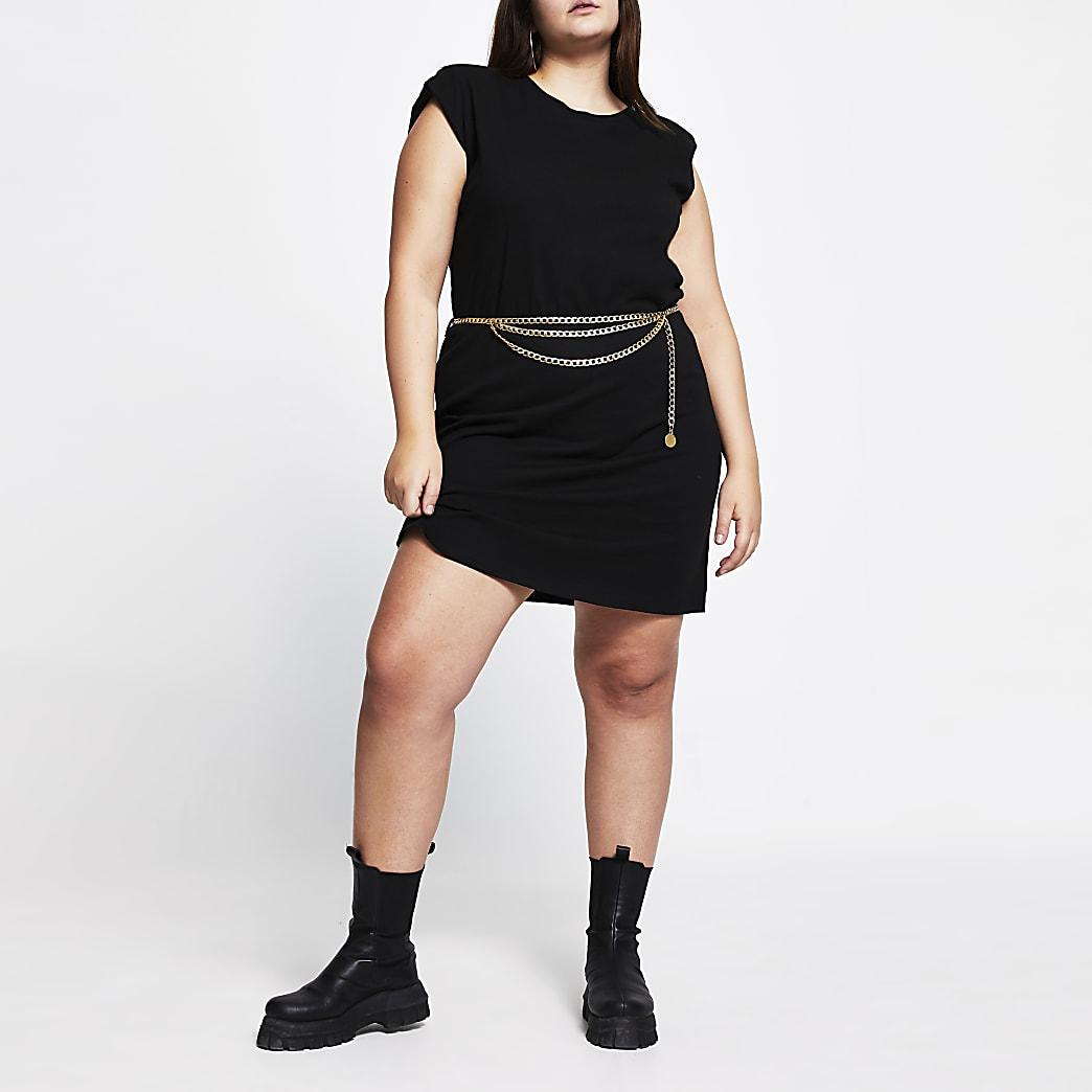 Plus black shoulder pad t-shirt dress
