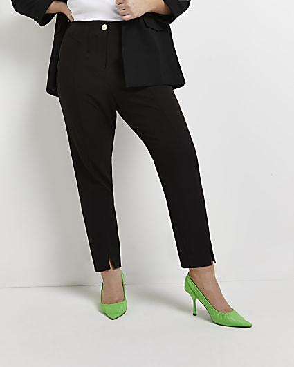 Plus black side split cigarette trousers