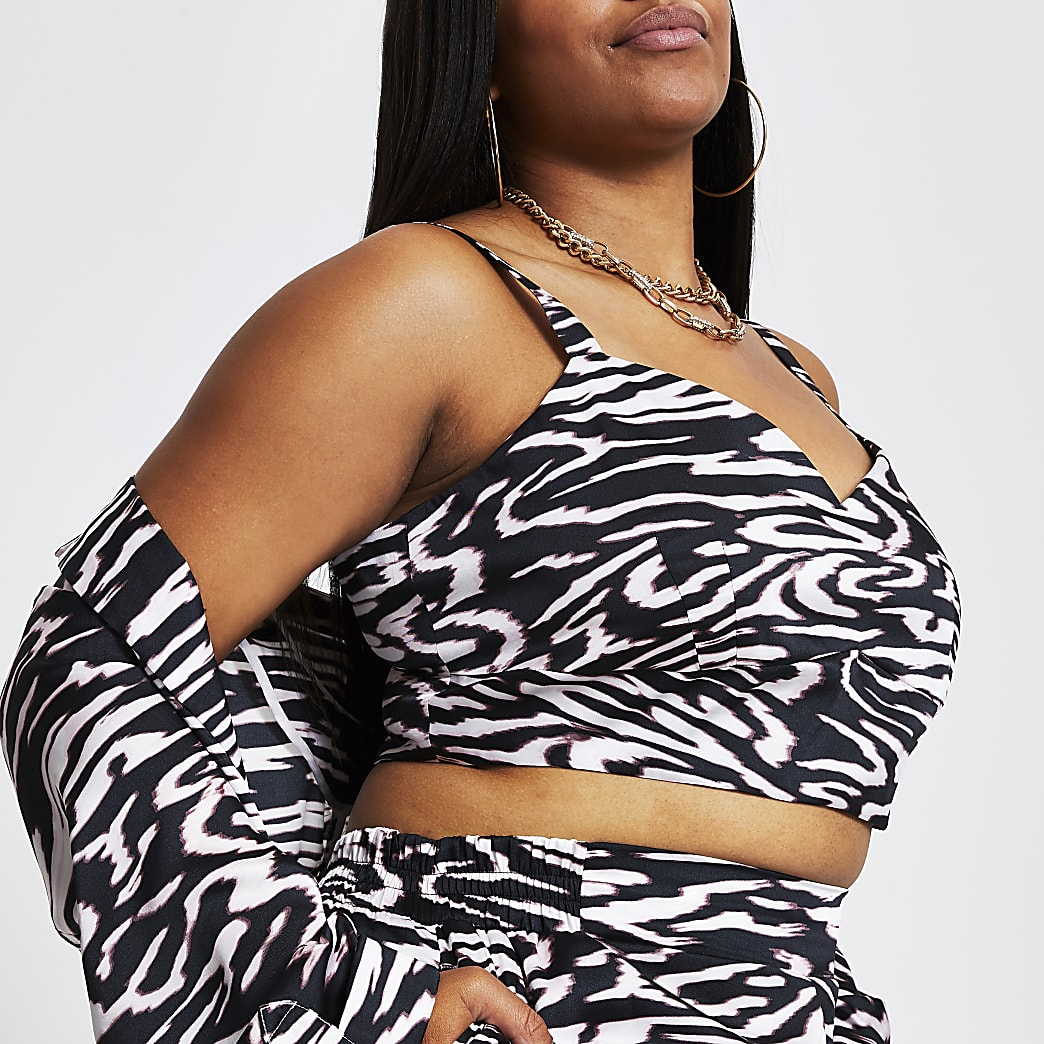 Plus black sleeveless animal print bralet top