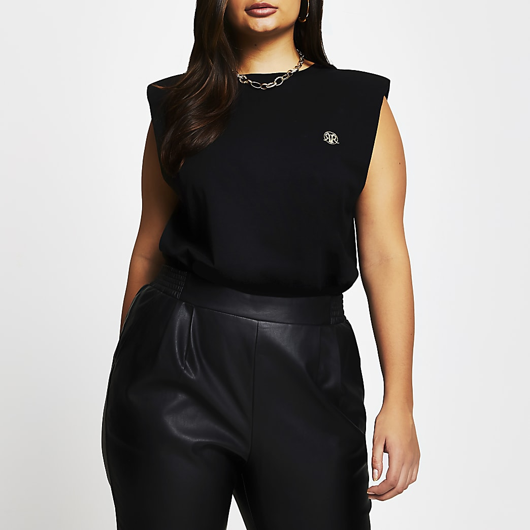 Plus black sleeveless shoulder pad t-shirt