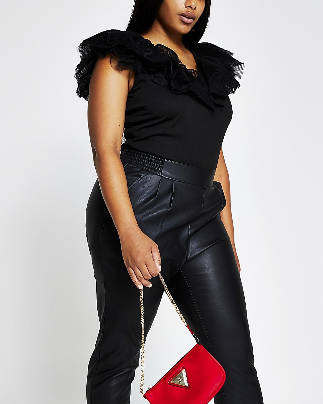 Plus black sleeveless v neck frill mesh top