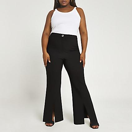 Plus black split front flared trousers